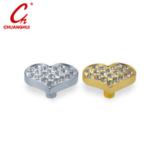 Furniture Hardware Heart Shape Drawer & Cabinet Knob with Crystal